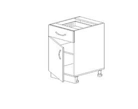 1.26 Стол рабочий с 1 ящиком (400 x 816 x 500) МДФ Черный глянец фреза