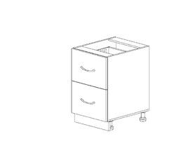 1.27 Стол рабочий с 2 ящиками (400 x 816 x 500) МДФ Черный глянец фреза