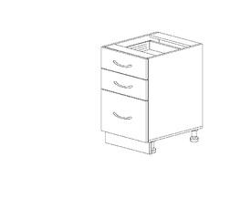 1.28 Стол рабочий с 3 ящиками (400 x 816 x 500) МДФ Черный глянец фреза