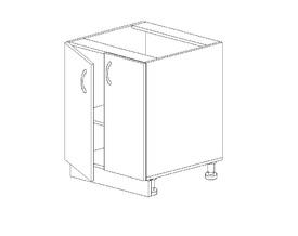 1.18 Стол рабочий двустворч. (500 x 816 x 500) МДФ Черный глянец фреза
