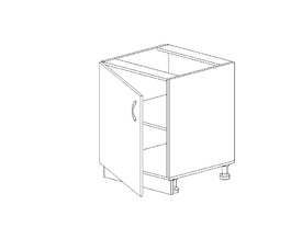 1.19 Стол рабочий одностворч. (500 x 816 x 500) МДФ Черный глянец фреза