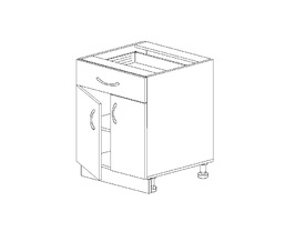 1.20 Стол рабочий с 1 ящиком двустворч. (500 x 816 x 500) МДФ Черный глянец фреза