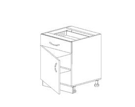1.21 Стол рабочий с 1 ящиком одностворч. (500 x 816 x 500) МДФ Черный глянец фреза