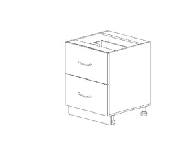 1.22 Стол рабочий с 2 ящиками (500 x 816 x 500) МДФ Черный глянец фреза