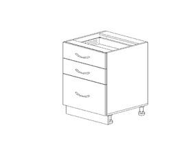 1.23 Стол рабочий с 3 ящиками (500 x 816 x 500) МДФ Черный глянец фреза