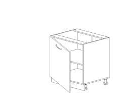 1.13 Стол рабочий одностворч. (600 x 816 x 500) МДФ Черный глянец фреза