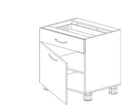 1.15 Стол рабочий с 1 ящиком одностворч. (600 x 816 x 500) МДФ Черный глянец фреза