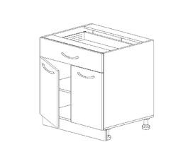 1.14 Стол рабочий с 1 ящиком двустворч. (600 x 816 x 500) МДФ Черный глянец фреза
