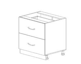 1.16 Стол рабочий с 2 ящиками (600 x 816 x 500) МДФ Черный глянец фреза