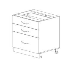1.17 Стол рабочий с 3 ящиками (600 x 816 x 500) МДФ Черный глянец фреза