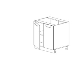 1.12 Стол рабочий двустворч. (600 x 816 x 500) МДФ Черный глянец фреза