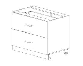 1.10 Стол рабочий с 2 ящиками (800 x 816 x 500) МДФ Черный глянец фреза