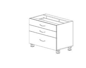 1.11 Стол рабочий с 3 ящиками (800 x 816 x 500) МДФ Черный глянец фреза