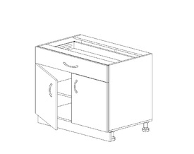 1.9 Стол рабочий с 1 ящиком (800 x 816 x 500) МДФ Черный глянец фреза