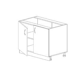 1.8 Стол рабочий (800 x 816 x 500) МДФ Черный глянец фреза