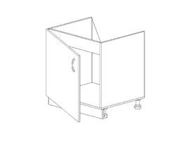 Амели 1.3 Тумба под мойку одностворч. (600 x 816 x 500) ЛДСП Ясень Шимо