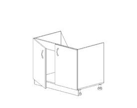 1.1 Тумба под мойку (800 x 816 x 500) МДФ Черный глянец фреза