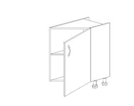1.34 Стол завершающий (300 x 816 x 570) Правый МДФ Черный глянец фреза